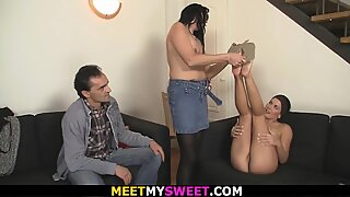 old couple and teen three way hook-up