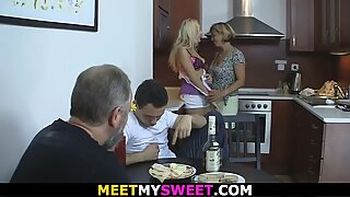 Mature mommy entices sons gf into family sex